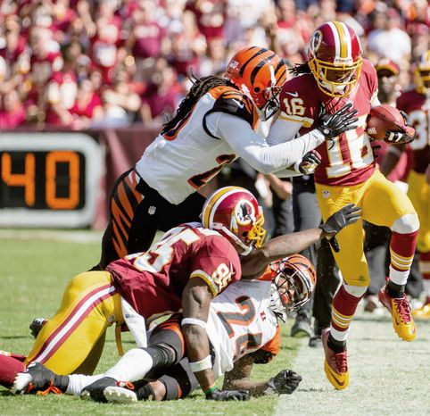 Receiver Brandon Banks carried three times for 29 yards for the Redskins, who ran on 15 of their first 19 plays in the second half. Washington amassed 313 yards after the break. (Andrew Harnik/The Washington Times)