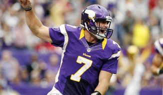 ** FILE ** Minnesota Vikings quarterback Christian Ponder (7) (AP Photo/Genevieve Ross)