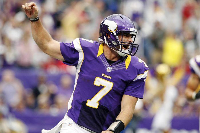 ** FILE ** Minnesota Vikings quarterback Christian Ponder (7) (AP Photo/Genevieve Ross)