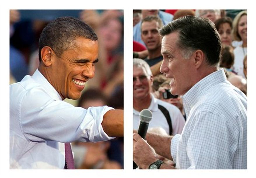 ** FILE ** In these Aug. 2012 photos, President Obama and Republican presidential candidate, former Massachusetts Gov. Mitt Romney, right, campaign. The challenge for Obama and Romney is how to lay claim to the small but mightily important swath of the electorate, the undecided likely voter. (AP Photos)