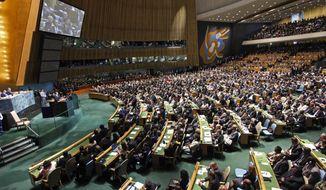 ** FILE ** President Obama addresses the U.N. General Assembly on Wednesday, Sept. 21, 2011. (AP Photo/Pablo Martinez Monsivais)