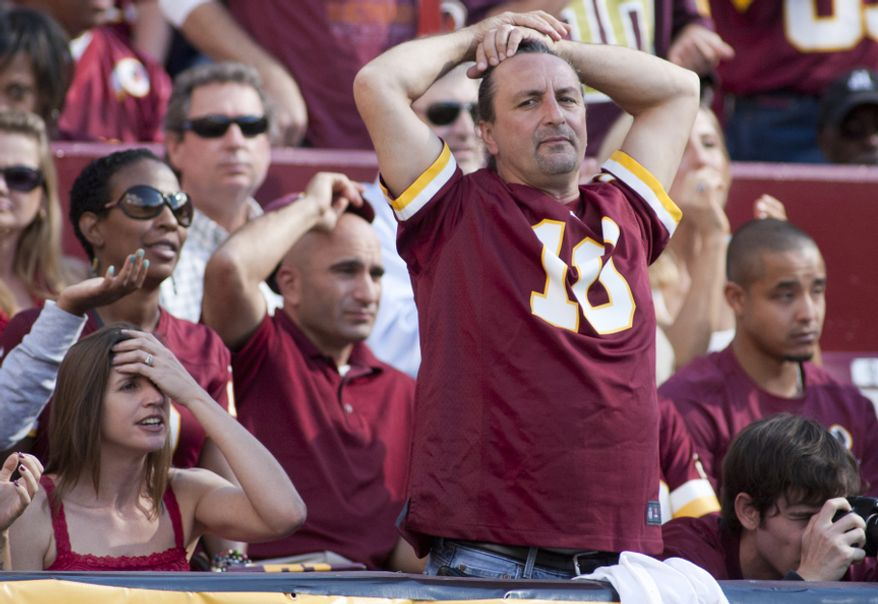 Washington Redskins fan reacts to call during the second half of the Washington Redskins against the Cincinnati Bengals, Landover, Md., Sunday, September 23, 2012.  (Craig Bisacre/The Washington Times)