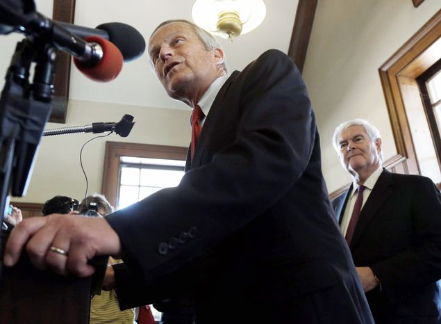 ** FILE ** Rep. W. Todd Akin, the Republican Senate candidate in Missouri, speaks during a news conference in Kirkwood, Mo., on Monday, Sept. 24, 2012. Former House Speaker Newt Gingrich is campaigning with the hopeful. (Associated Press)