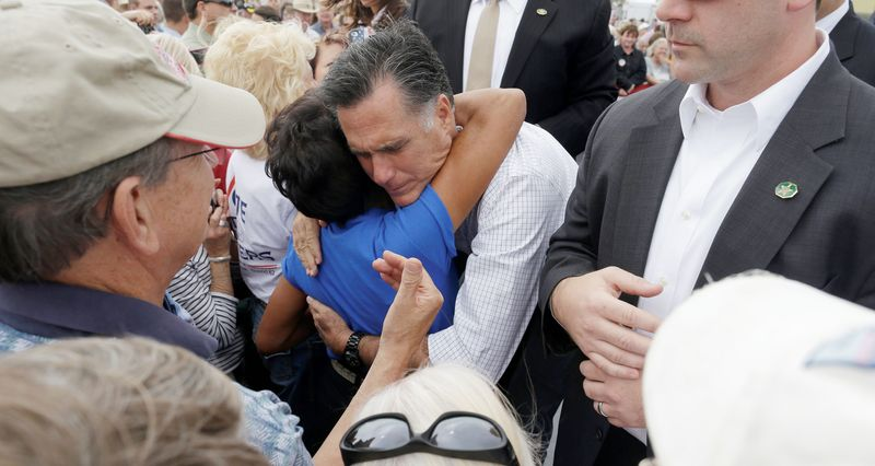 Republican presidential candidate Mitt Romney embraces a supporter at a campaign event in Pueblo, Colo., on Monday. Colorado is a swing state. (Associated Press)