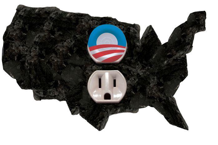 Illustration Obama Blocking Coal by Linas Garsys for The Washington Times