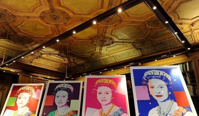 """Four Andy Warhol portraits of Queen Elizabeth II, purchased by the Royal Collection Trust, will form part of the """"Portraits of a Monarch"""" exhibit opening in November at Windsor Castle outside London. (AP Photo/PA, Andrew Matthews)"""