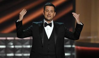 ** FILE ** Host Jimmy Kimmel speaks at the Emmy Awards on Sept. 23, 2012, in Los Angeles. (Associated Press)