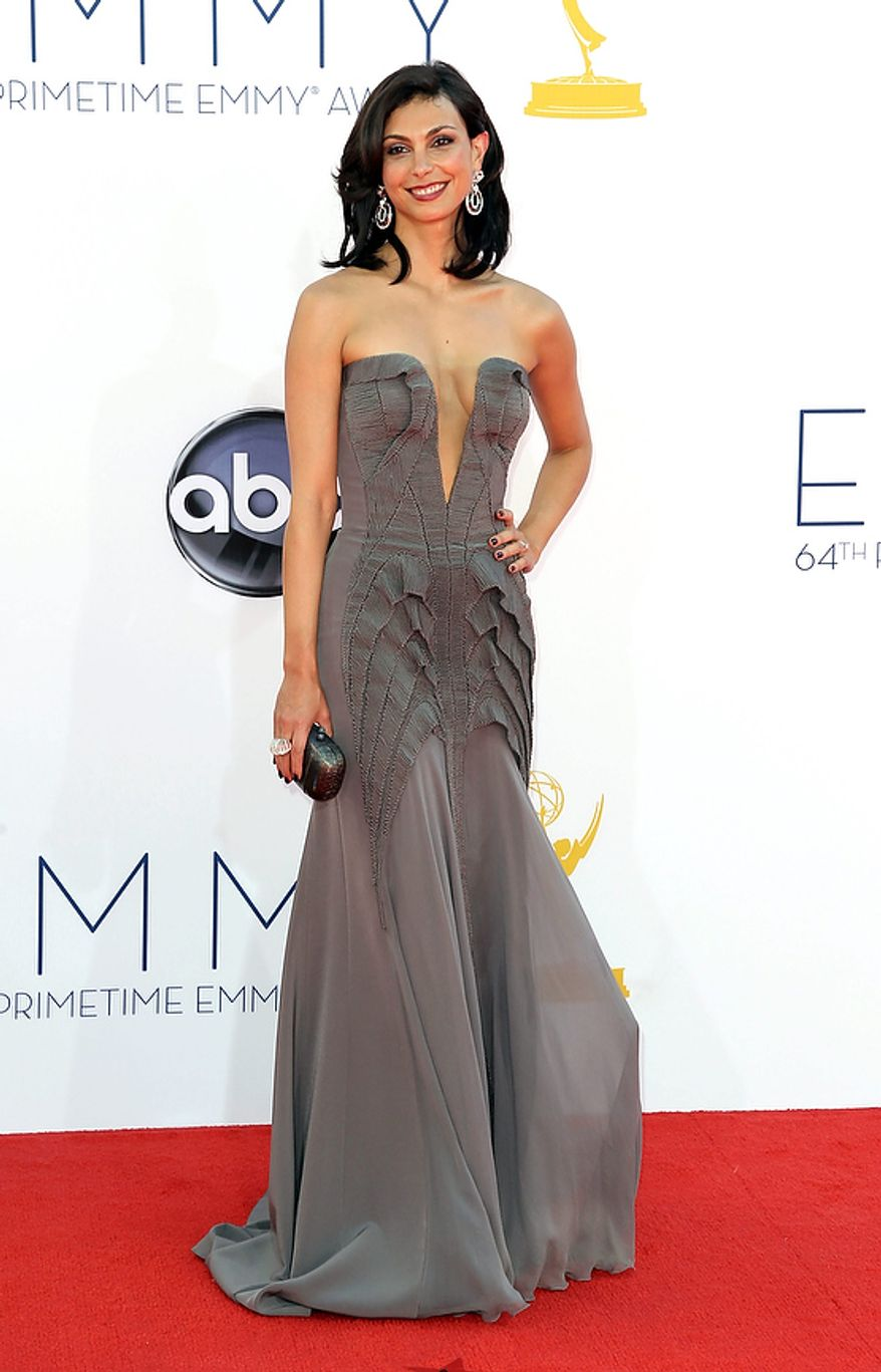 Morena Baccarin arrives at the 64th Primetime Emmy Awards at the Nokia Theatre on Sunday, Sept. 23, 2012, in Los Angeles. (Photo by Matt Sayles/Invision/AP)