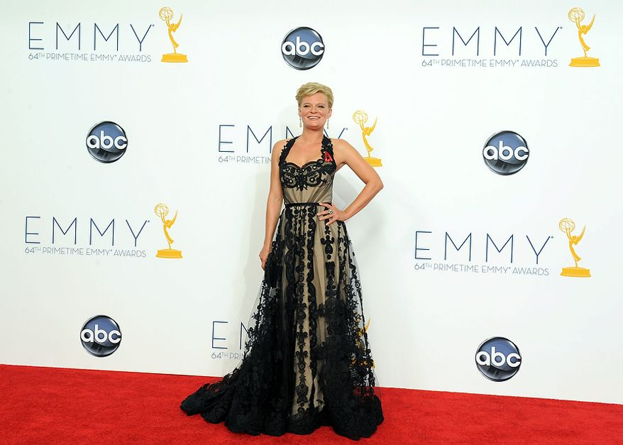 Actress Martha Plimpton poses backstage at the 64th Primetime Emmy Awards at the Nokia Theatre on Sunday, Sept. 23, 2012, in Los Angeles. (Photo by Jordan Strauss/Invision/AP)