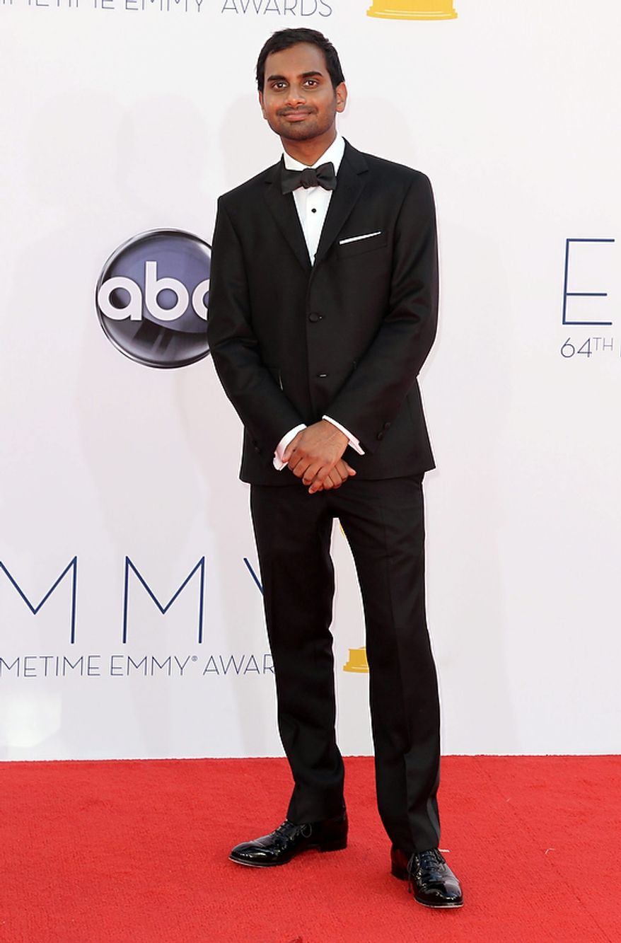 Aziz Ansari arrives at the 64th Primetime Emmy Awards at the Nokia Theatre on Sunday, Sept. 23, 2012, in Los Angeles. (Photo by Matt Sayles/Invision/AP)