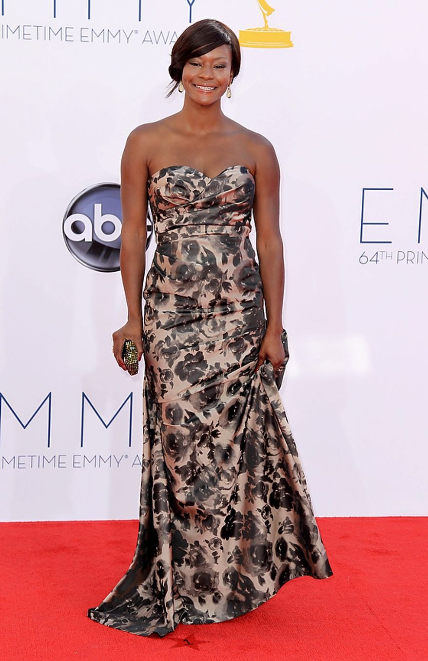 Sufe Bradshaw arrives at the 64th Primetime Emmy Awards at the Nokia Theatre on Sunday, Sept. 23, 2012, in Los Angeles. (Photo by Matt Sayles/Invision/AP)