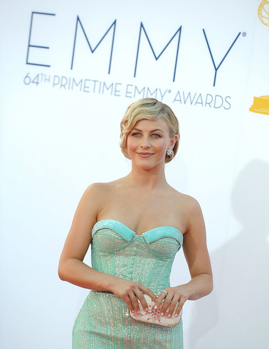 Actress Julianne Hough arrives at the 64th Primetime Emmy Awards at the Nokia Theatre on Sunday, Sept. 23, 2012, in Los Angeles.  (Photo by Jordan Strauss/Invision/AP)