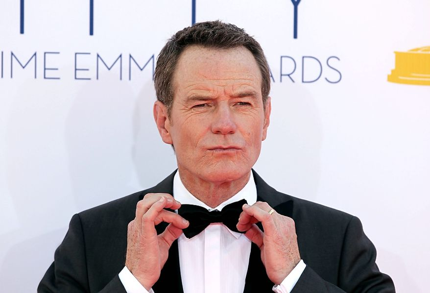 Bryan Cranston arrives at the 64th Primetime Emmy Awards at the Nokia Theatre on Sunday, Sept. 23, 2012, in Los Angeles. Cranston is nominated for best actor is a drama series for his role as Walter White ìBreaking Bad.î (Photo by Matt Sayles/Invision/AP)