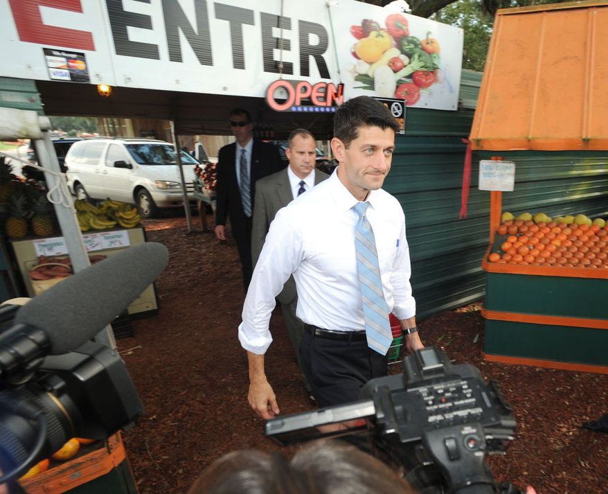 Republican vice presidential candidate Paul Ryan leaves Walker's Produce Stand in between Bartow and Lakeland, Fla., on Sept. 21, 2012. (Associated Press/The Lakeland Ledger)