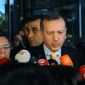 Turkish Prime Minister Recep Tayyip Erdogan speaks to the media in Ankara, Turkey, Friday, Sept. 21, 2012. (AP Photo)