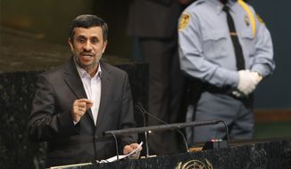 Iranian President Mahmoud Ahmadinejad speaks at a high level meeting at United Nations headquarters on Sept. 24, 2012. Ahmadinejad has dismissed threats of military action against Iran's nuclear program, asserting that its enrichment project is for peaceful purposes and disputing that the country is worried about Israel. (Associated Press)