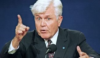 James Stockdale was remembered more for his philosophical opening line in the 1992 vice presidential debate than his recollection as a war hero. (Associated Press)