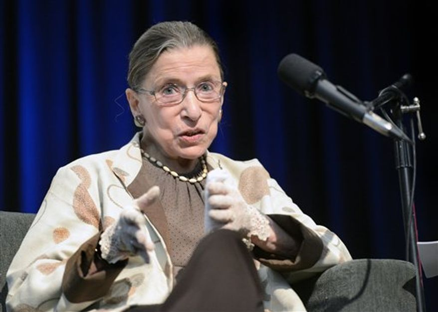 Supreme Court Justice Ruth Bader Ginsburg speaks during a University of Colorado Law School event on Wednesday, Sept. 19, 2012, in Boulder, Colo. (AP Photo/The Daily Camera, Jeremy Papasso) ** FILE **