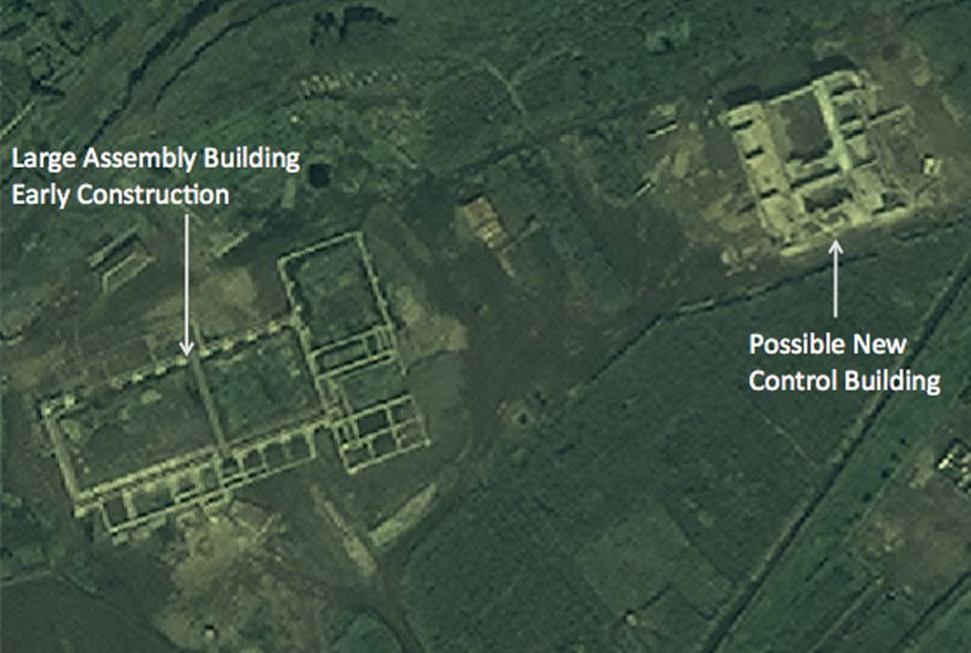 A satellite image taken on Wednesday Aug. 29, 2012, by DigitalGlobe and provided on Monday, Sept. 24, 2012, by 38 North, the website of the U.S.-Korea Institute at the Johns Hopkins School of Advanced International Studies, shows what an analyst says is construction of a new rocket launch pad at the Tonghae complex near Musudan-ri, North Korea. (AP Photo/DigitalGlobe)