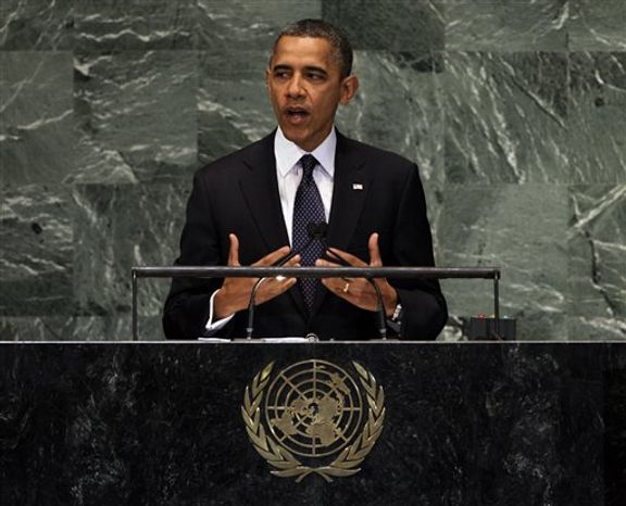 President Obama addresses the 67th session of the United Nations General Assembly on Sept. 25, 2012. (Associated Press)