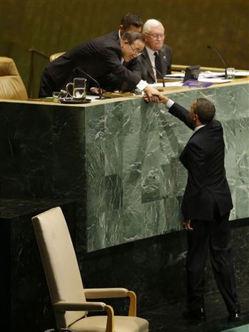 President Obama shakes hands with U.N. Secretary General Ban Ki-Moon before addressing the 67th session of the United Nations General Assembly at the United Nations headquarters on Sept. 25, 2012. (Associated Press)