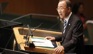 United Nations Secretary-General Ban Ki-moon addresses the 67th session of the United Nations General Assembly at U.N. headquarters on Sept. 25, 2012. (Associated Press)