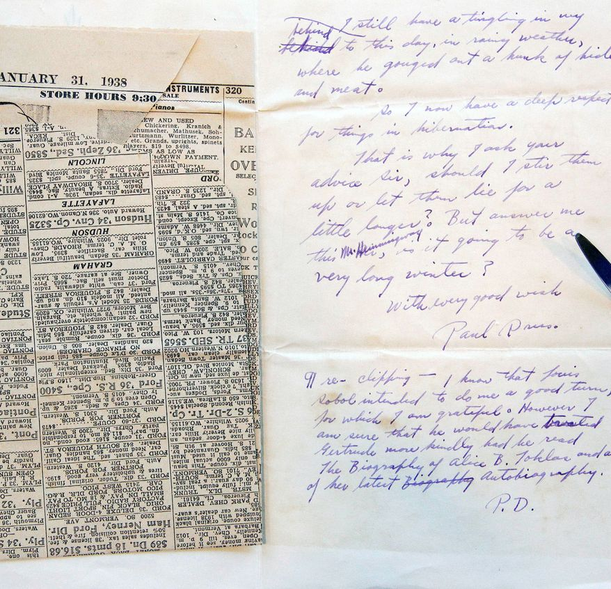 A letter and newspaper clipping sent to Ernest Hemingway by writer Paul Drus is part of the collection under the care of conservators. (Associated Press)