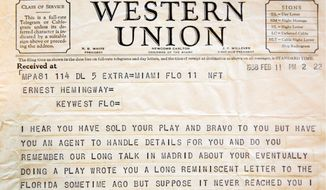 A telegram sent by theater producer Jean Dalrymple, both in 1938, is part of the collection under the care of conservators. (Associated Press)