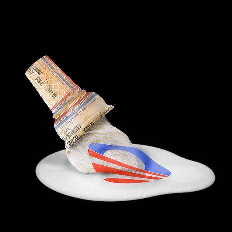 Illustration Obama's Melted Ice Cream by John Camejo for The Washington Times