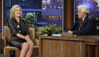 "Ann Romney, wife of Republican presidential nominee Mitt Romney, appears on ""The Tonight Show"" with host Jay Leno on Tuesday, Sept. 25, 2012. (AP Photo/NBC, Paul Drinkwater)"