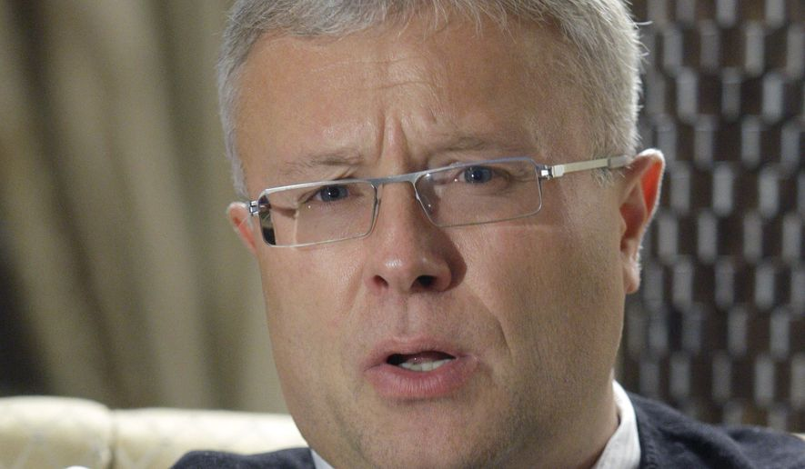 Russian billionaire banker Alexander Lebedev gives an interview at his home in Moscow in 2008. (AP Photo/Ivan Sekretareve)
