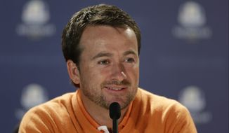 Europe's Graeme McDowell answers a question during a news conference for the Ryder Cup PGA golf tournament Tuesday, Sept. 25, 2012, at the Medinah Country Club in Medinah, Ill. (AP Photo/Chris Carlson)