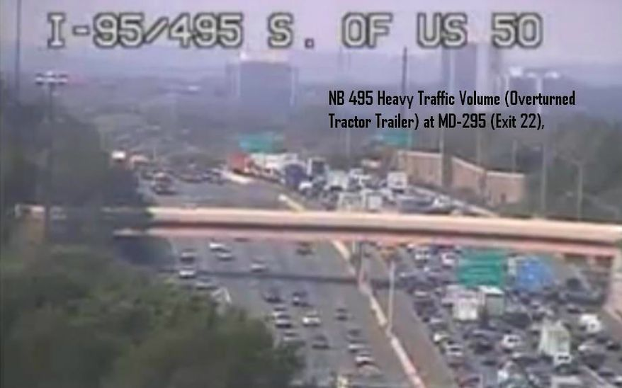 D.C. police post a photo of the traffic jam from an overturned truck spilling diesel fuel on I-495 on the department's official Twitter feed. Photo from MPD.