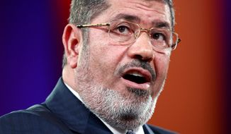 Egyptian President Mohammed Morsi speaks Sept. 25, 2012, at the Clinton Global Initiative in New York. (Associated Press)