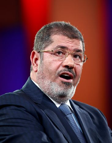 Egyptian President Mohammed Morsi speaks Sept. 25, 2012, at the Clinton Global Initiative in New York. (Associated Press)