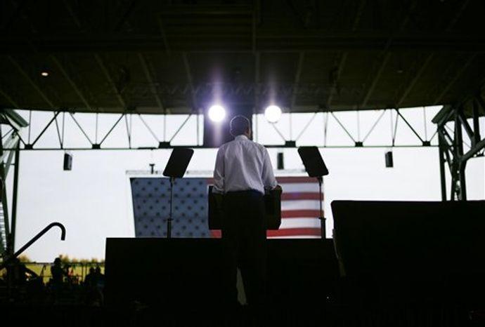 President Obama speaks at a campaign event at Farm Bureau Live, Thursday, Sept. 27, 2012, in Virginia Beach, Va. (AP Photo/Pablo Martinez Monsivais)