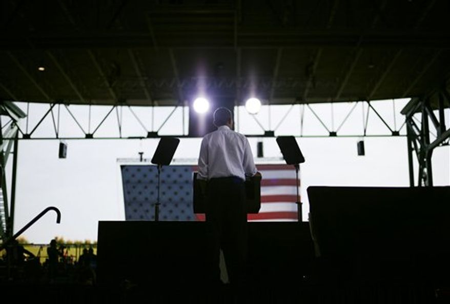 President Obama speaks at a campaign event at Farm Bureau Live, Thursday, Sept. 27, 2012, in Virginia Beach, Va. (AP Photo/Pablo Martinez Monsivais)