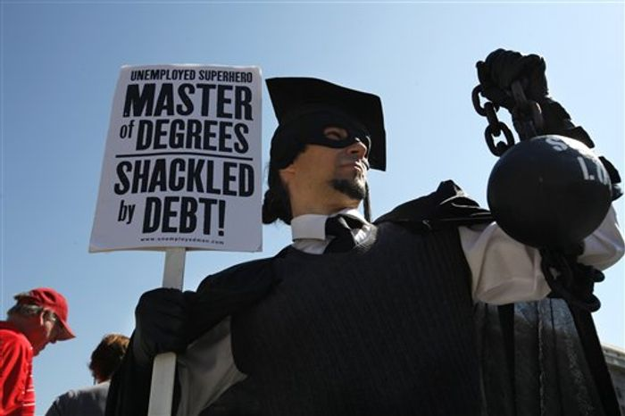 "Financially ill-prepared college students ""take on mountains of student debt without any hope of paying it off,"" says Jordan Goodman. Shown: scene from a 2011 protest in Washington, D.C.. (AP Photo/Jacquelyn Martin)"