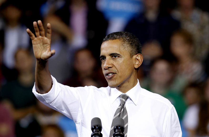 President Obama speaks Sept. 26, 2012, at a campaign event at the Memorial Athletic and Convocation Center at Kent State University in Kent, Ohio. (Associated Press)