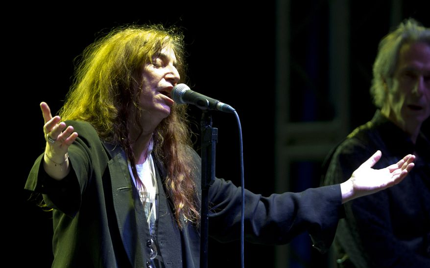 Rock singer Patti Smith performs in concert on Saturday, May 5, 2012, in Mexico City. (AP Photo/Eduardo Verdugo)