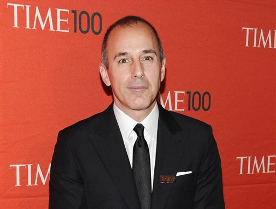 """** FILE ** NBC's """"Today"""" show co-host Matt Lauer attends the TIME 100 gala, celebrating the 100 most influential people in the world, on April 24, 2012. (Associated Press)"""