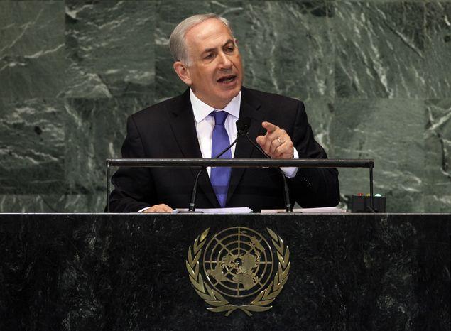 Israeli Prime Minister Benjamin Netanyahu addresses the 67th session of the U.N. General Assembly on Thursday, Sept. 27, 2012. (AP Photo/Richard Drew)