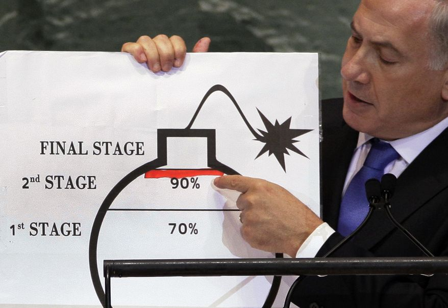 Israeli Prime Minister Benjamin Netanyahu shows an illustration as he describes his concerns over Iran's nuclear ambitions during his address to the 67th session of the United Nations General Assembly at U.N. headquarters on Sept. 27, 2012. (Associated Press) **FILE**