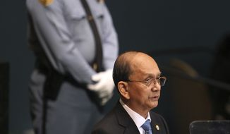 Thein Sein, President of Myanmar, speaks Sept. 27, 2012, during the 67th session of the United Nations General Assembly at U.N. headquarters. (Associated Press)