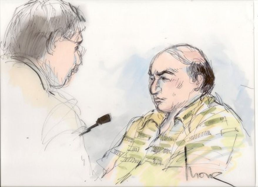 This courtroom sketch shows Nakoula Basseley Nakoula talking with his attorney Steven Seiden, left, in court Thursday Sept. 27, 2012. The U.S. Central District Chief Magistrate Judge Suzanne Segal on Thursday determined the California man behind a crudely produced anti-Islamic video that inflamed parts of the Middle East is a flight risk and ordered him detained. (AP Photo/Mona Shafer Edwards)