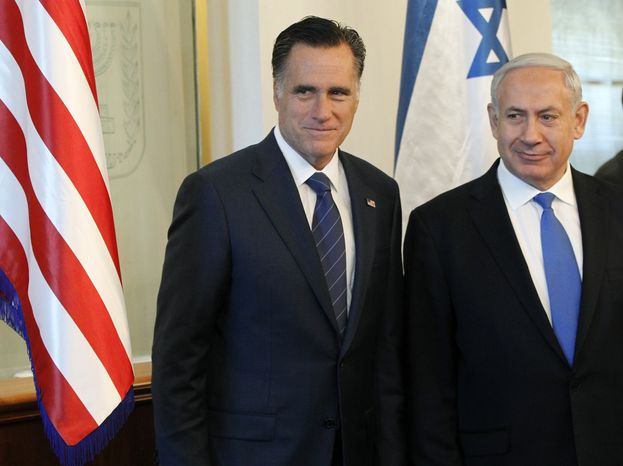 **FILE** Republican presidential candidate Mitt Romney meets July 29, 2012, with Israel's Prime Minister Benjamin Netanyahu in Jerusalem. (Associated Press)