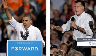 **FILE** In these photos from Sept. 26, 2012, President Obama and Republican presidential candidate Mitt Romney both campaign in the battleground state of Ohio. (Associated Press)