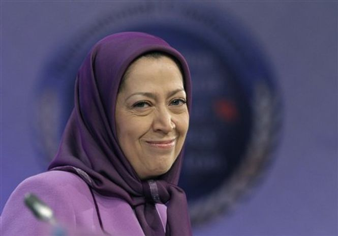 ** FILE ** In this Jan. 25, 2011, file photo, Maryam Rajavi, president-elect of Iranian opposition party National Council of Resistance of Iran, smiles as she attends an international conference on Iran policy in Brussels. (AP Photo/Yves Logghe, File)