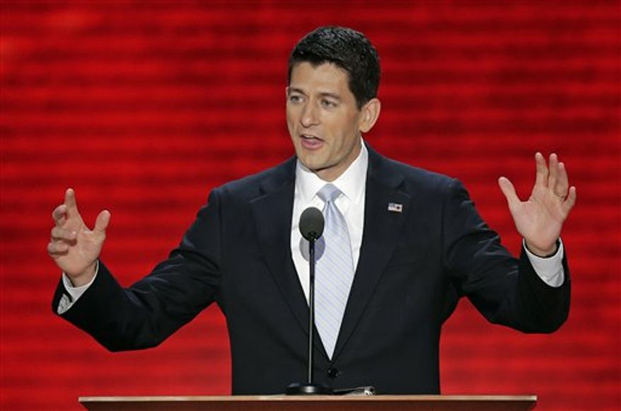**FILE** Republican vice presidential nominee Paul Ryan addresses the Republican National Convention in Tampa, Fla., on Aug. 29, 2012. (Associated Press)