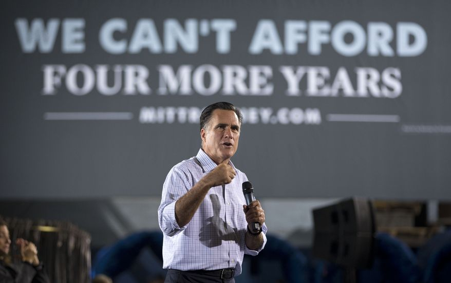 **FILE** Republican presidential candidate Mitt Romney campaigns on Wednesday, Sept. 26, 2012, at American Spring Wire in Bedford Heights, Ohio. (Associated Press)